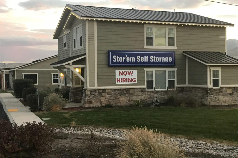 The front of the building at Stor'em Self Storage in Magna, Utah