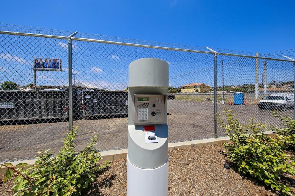 Keypad entrance at A-1 Self Storage in San Diego, California
