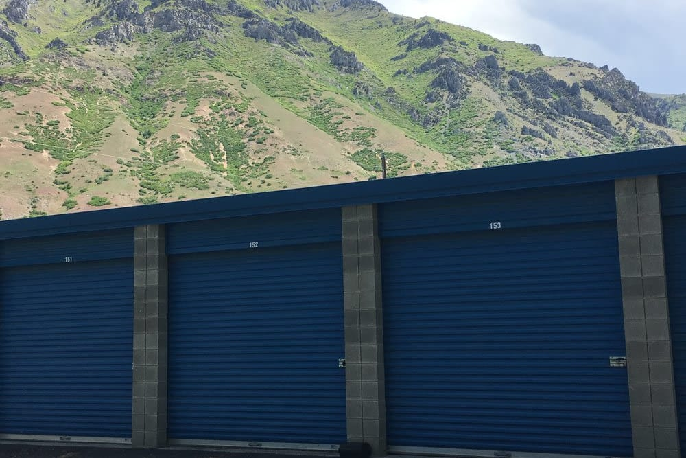 Storage units with a view of the mountains at Stor'em Self Storage in Springville, Utah