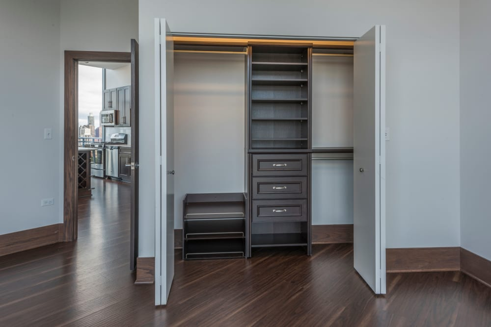 Large, spacious closet at The Residences at NEWCITY in Chicago, Illinois