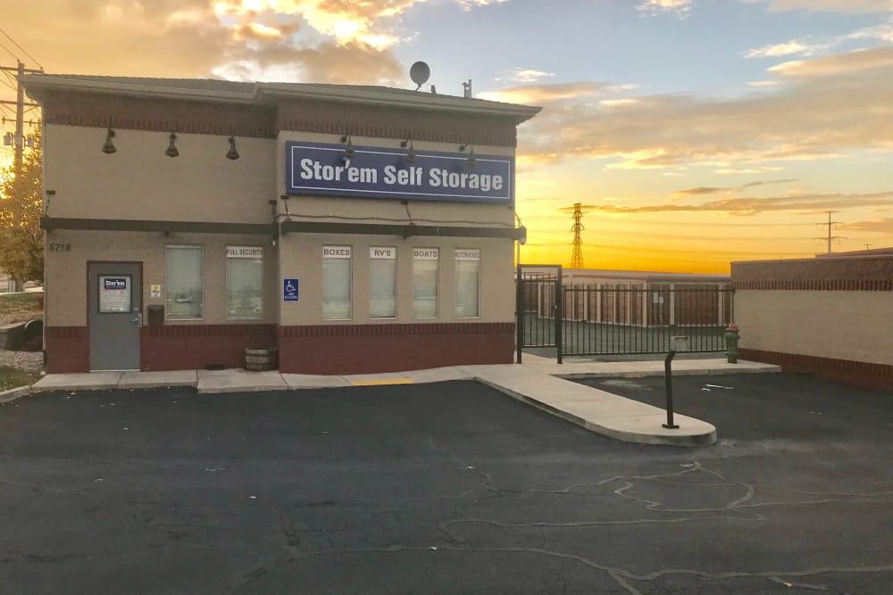The front of the building at Stor'em Self Storage in West Valley City, Utah