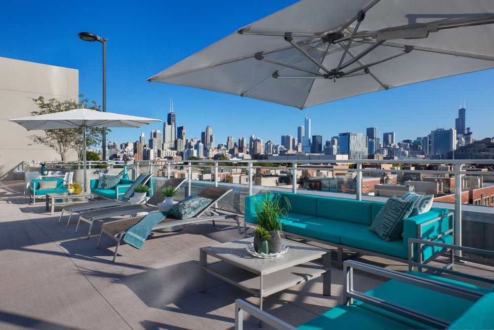 Pool patio with a view at The Residences at NEWCITY in Chicago, Illinois