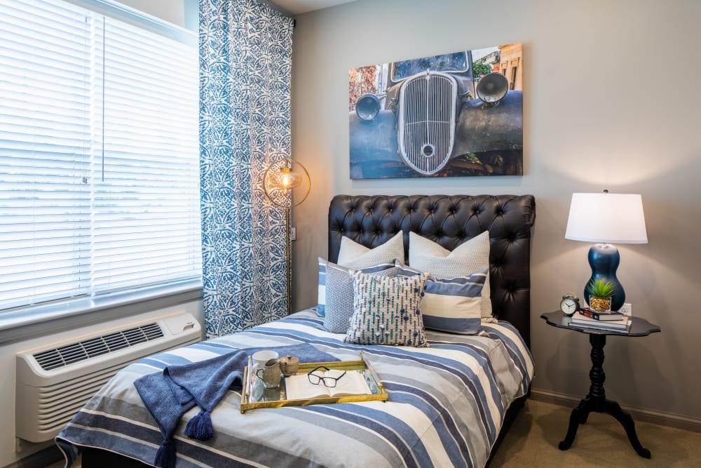 Furnished bedroom at Anthology of Northville in Northville, Michigan