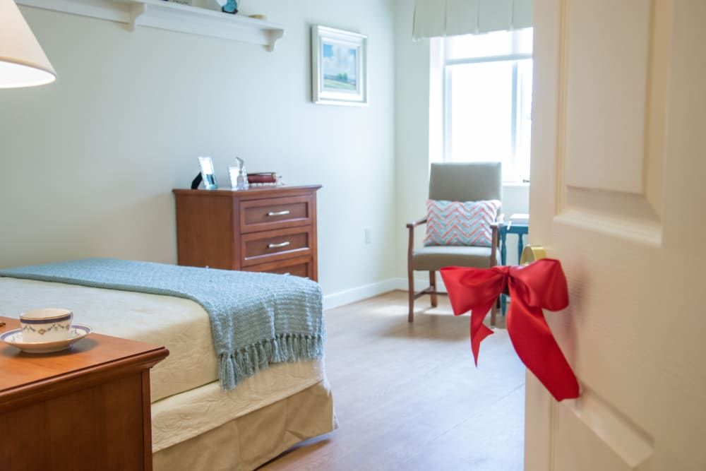 Model bedroom at Artis Senior Living of Commack in Commack, New York