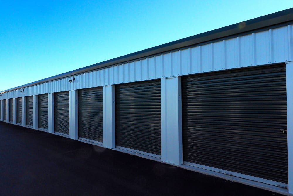 Exterior units on a sunny day at Apple Self Storage - Collingwood in Collingwood, Ontario