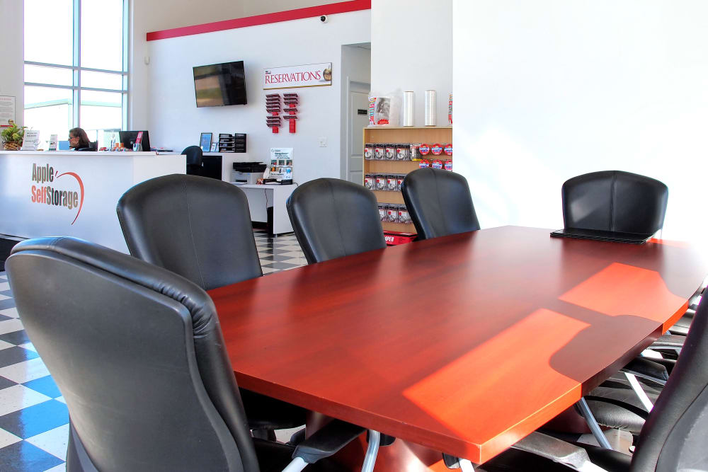 Large table in the meeting area at Apple Self Storage - Collingwood in Collingwood, Ontario