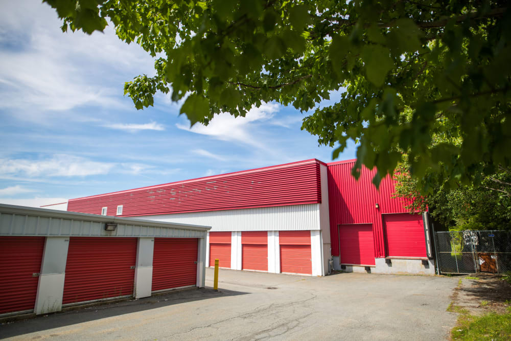 Exterior storage units with bright red doors at Apple Self Storage - Dartmouth in Dartmouth, Nova Scotia