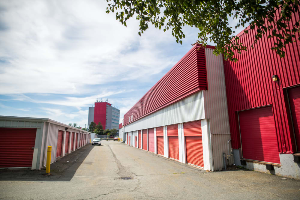 Red door at the exterior of Apple Self Storage - Dartmouth in Dartmouth, Nova Scotia