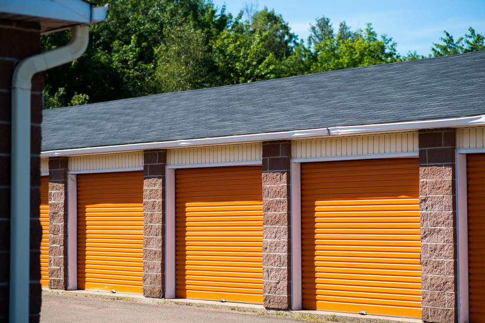 Storage units on a sunny day at Apple Self Storage - Dieppe in Dieppe, New Brunswick