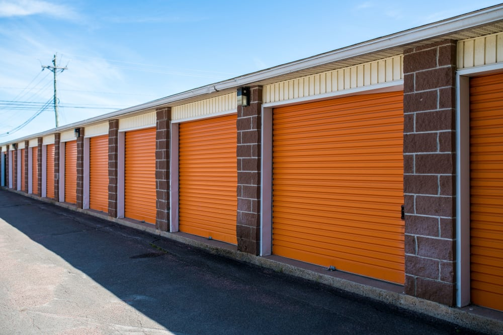 Well kept exterior units and driveway at Apple Self Storage - Dieppe in Dieppe, New Brunswick