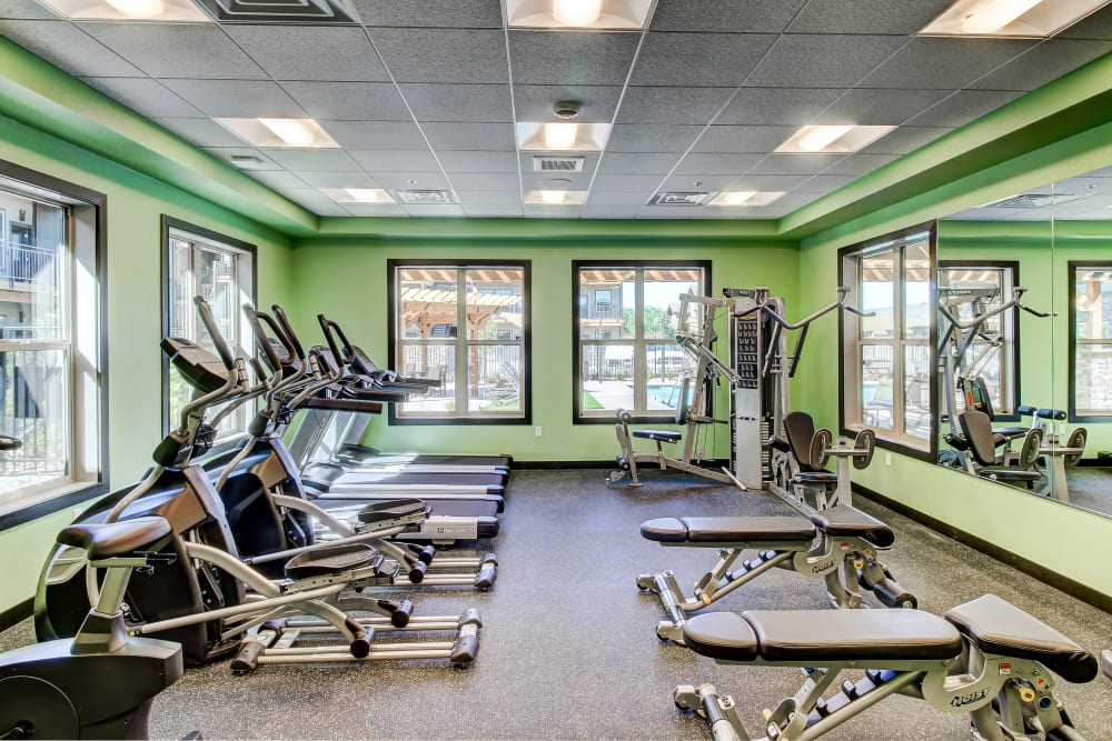 Enjoy Apartments with a Fitness Center at Timnath Trail at Riverbend Apartment Homes