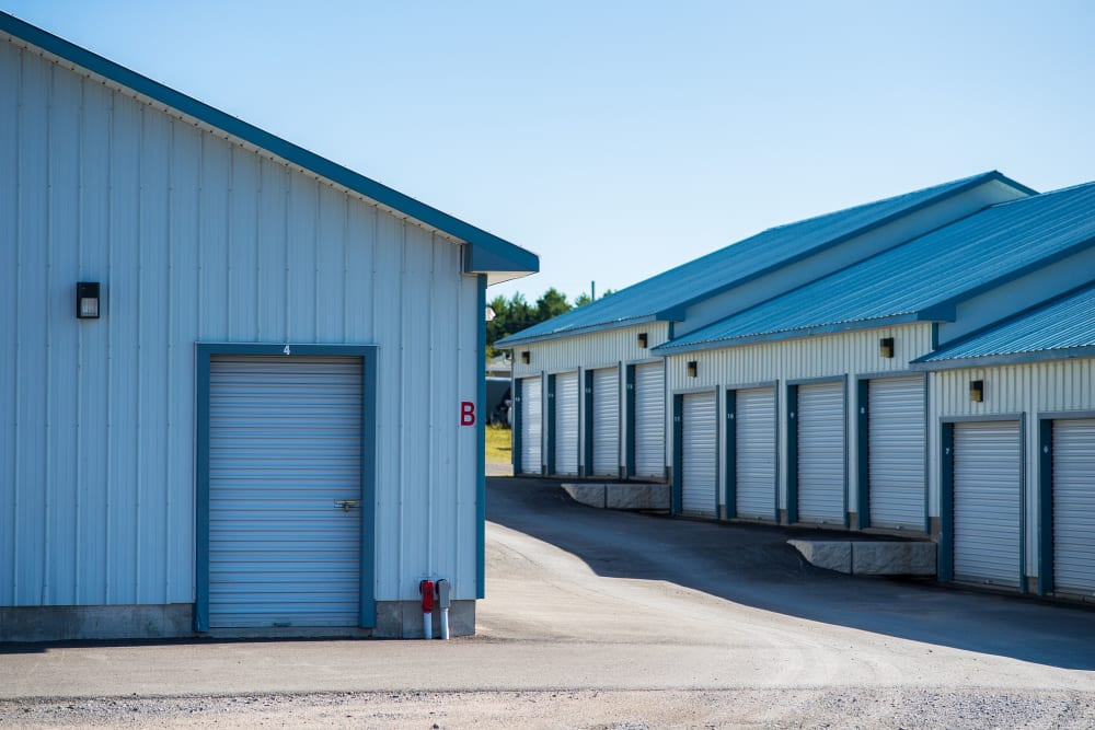 Outside storage units at Apple Self Storage - Fredericton North in Fredericton, New Brunswick