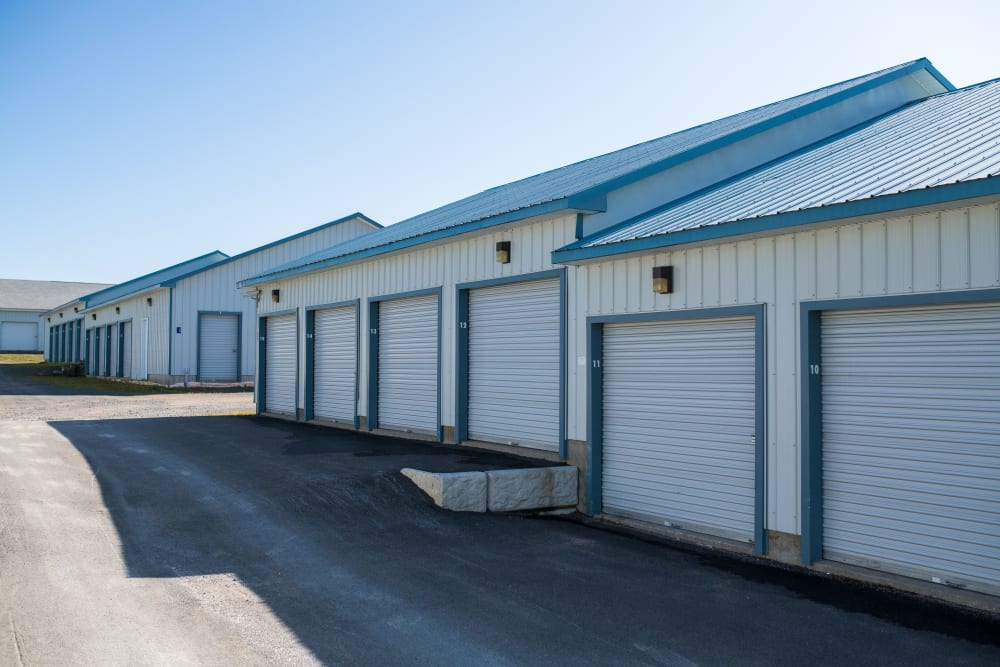 Exterior storage units at Apple Self Storage - Fredericton North in Fredericton, New Brunswick