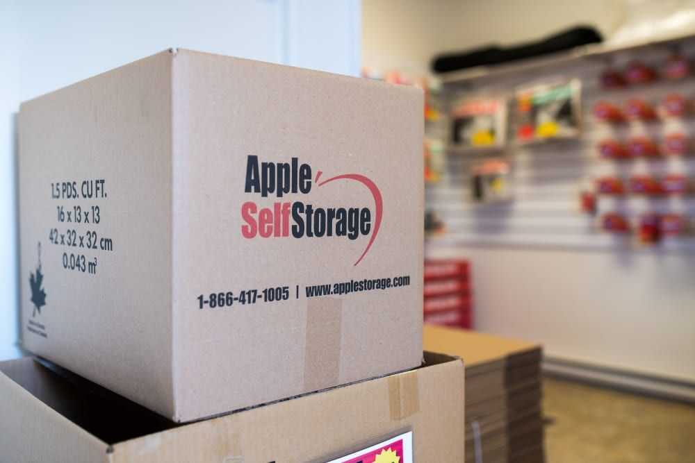 Boxes at Apple Self Storage - Fredericton North in Fredericton, New Brunswick