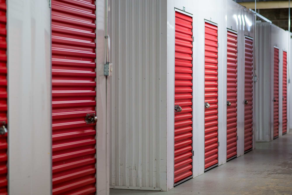 Bright red doors at Apple Self Storage - Halifax Downtown in Halifax, Nova Scotia