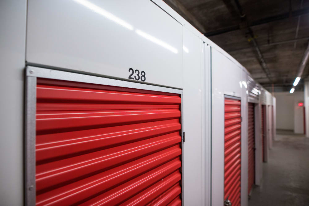 Close up of interior unit doors at Apple Self Storage - Halifax Downtown in Halifax, Nova Scotia