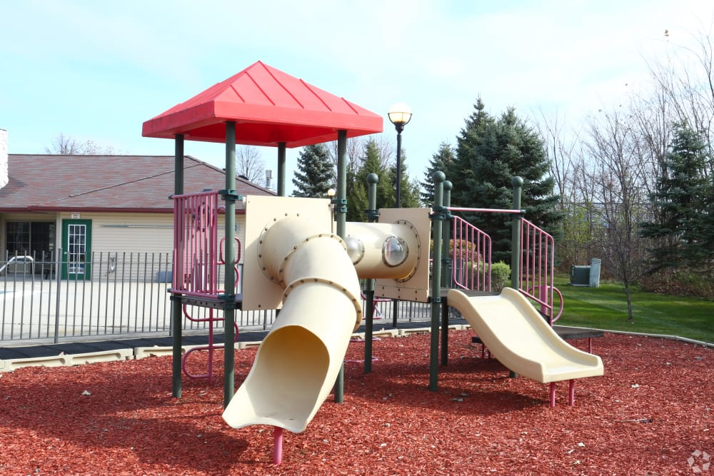 Children's playground with slides at Stone Crest in Mt Pleasant, Michigan
