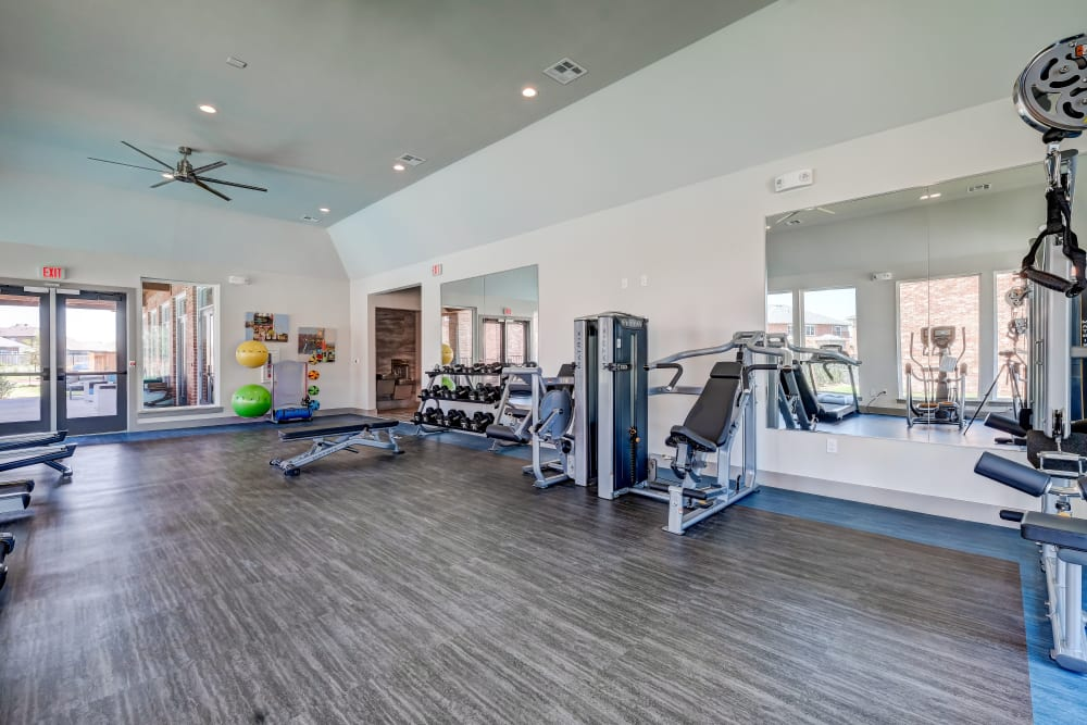 Work out any time at the fitness center offered by The Emerson at Forney Marketplace
