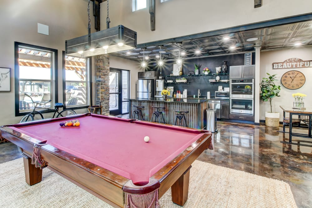 Pool table in the Clubhouse at Timnath Trail at Riverbend Apartment Homes in Timnath, Colorado