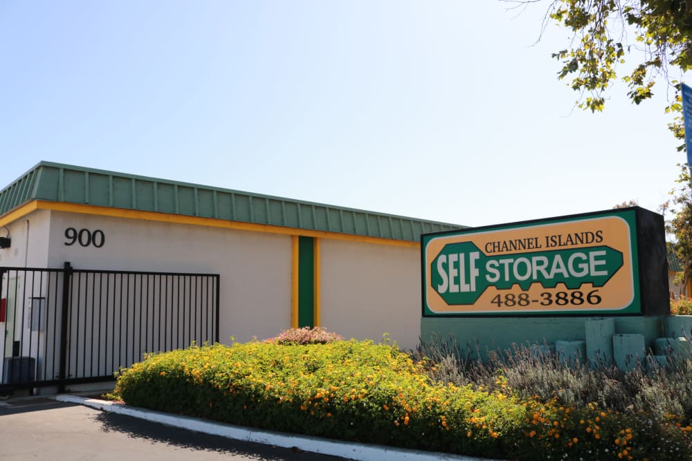 Front sign and gated entrance at Channel Islands Self Storage in Port Hueneme, CA