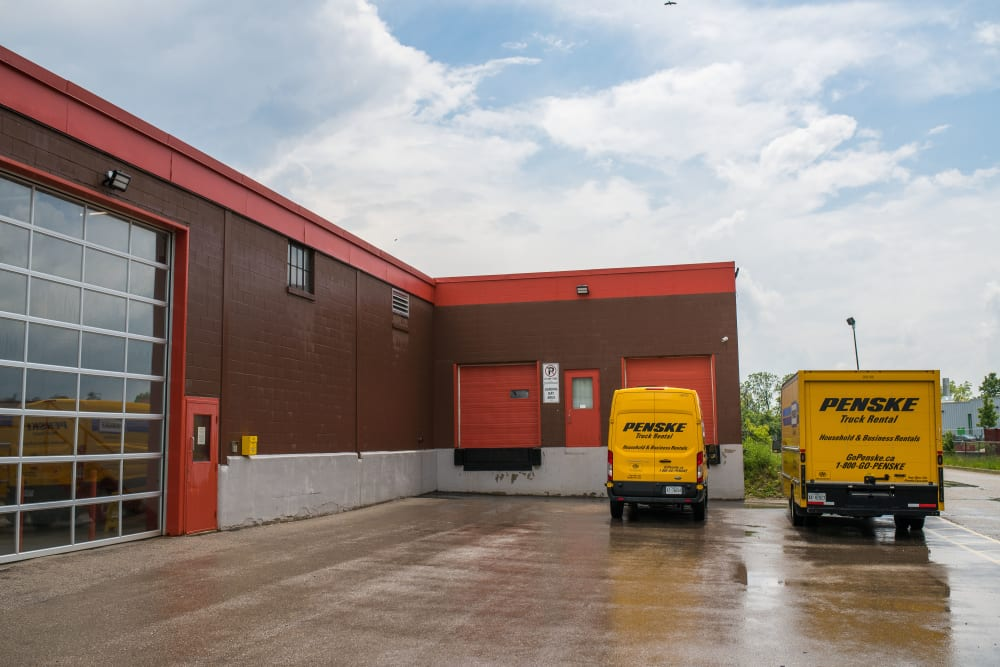 Moving trucks at National Self Storage in Kitchener, Ontario