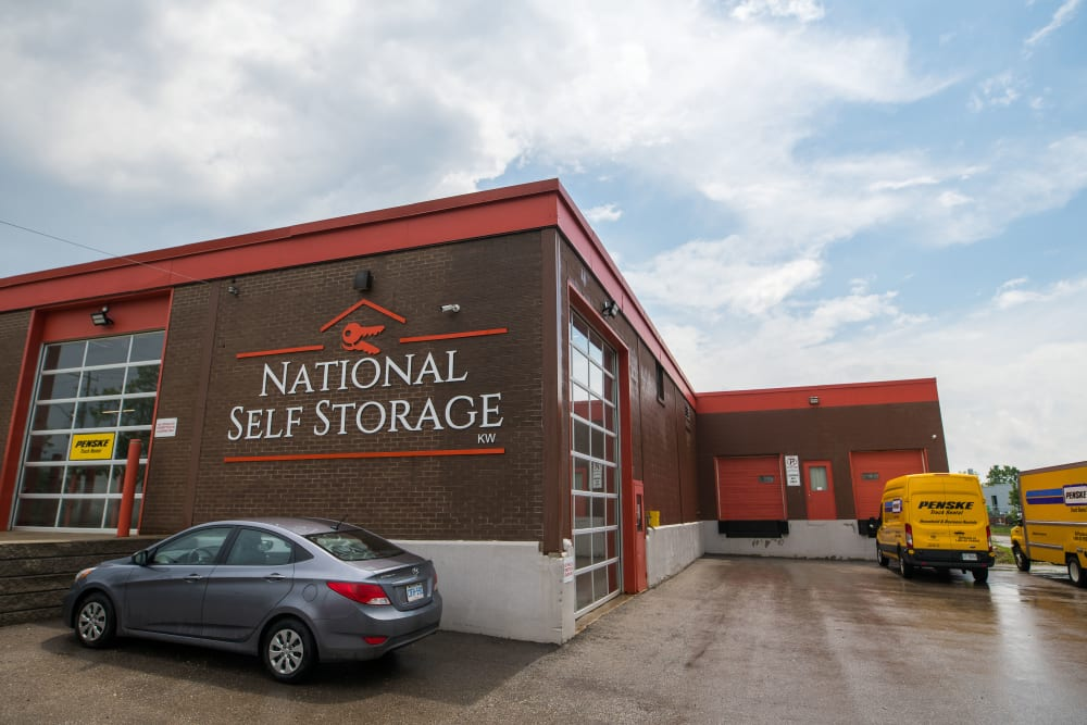 Exterior and loading doors at National Self Storage in Kitchener, Ontario
