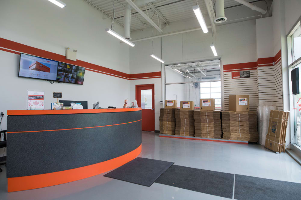 Front desk at National Self Storage in Kitchener, Ontario