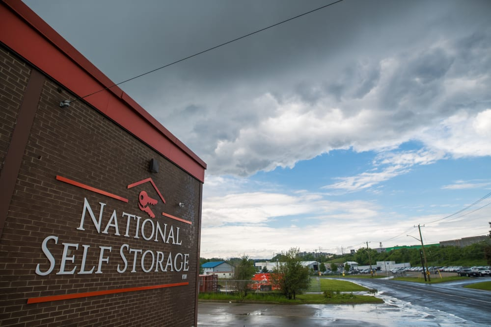 Sign on the exterior of National Self Storage in Kitchener, Ontario