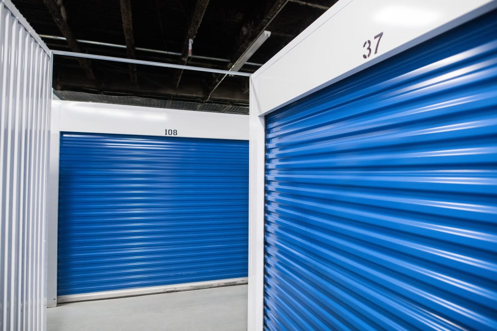 Large loading door on a unit at Apple Self Storage - Mississauga East in Mississauga, Ontario