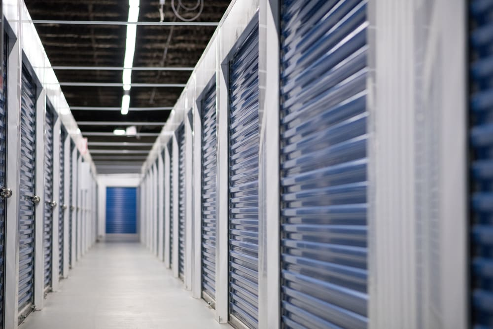 Large, bright hallway at Apple Self Storage - Mississauga East in Mississauga, Ontario