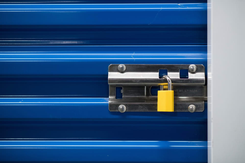 Secure lock on a storage unit door at Apple Self Storage - Mississauga East in Mississauga, Ontario