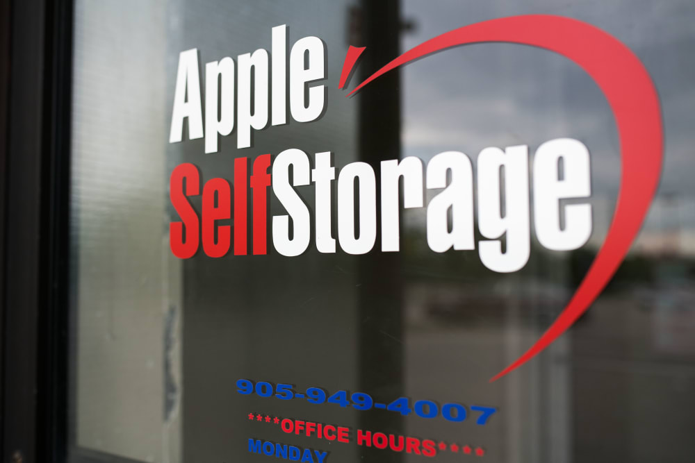Logo on the door at Apple Self Storage - Mississauga East in Mississauga, Ontario