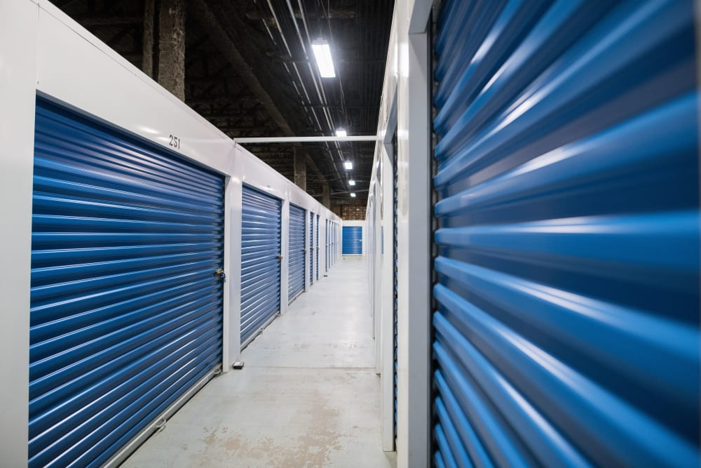 Clean and bright hallway at Apple Self Storage - Mississauga East in Mississauga, Ontario