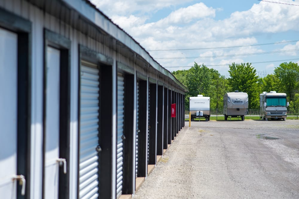 Storage units and RV parking at Bronco Mini Storage in Welland, Ontario