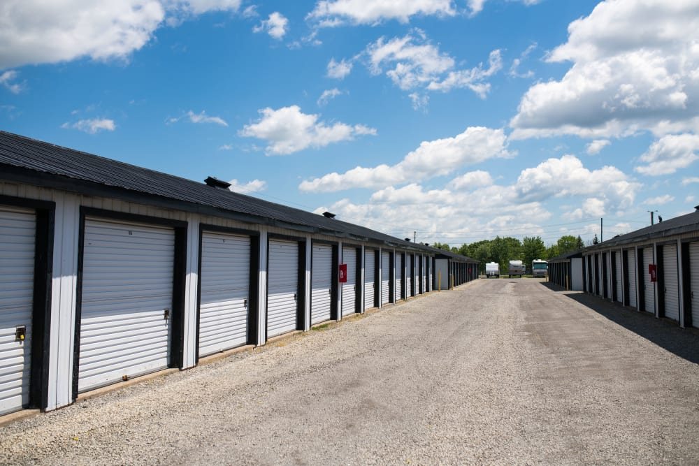Wide driveways for your convenience at Bronco Mini Storage in Welland, Ontario