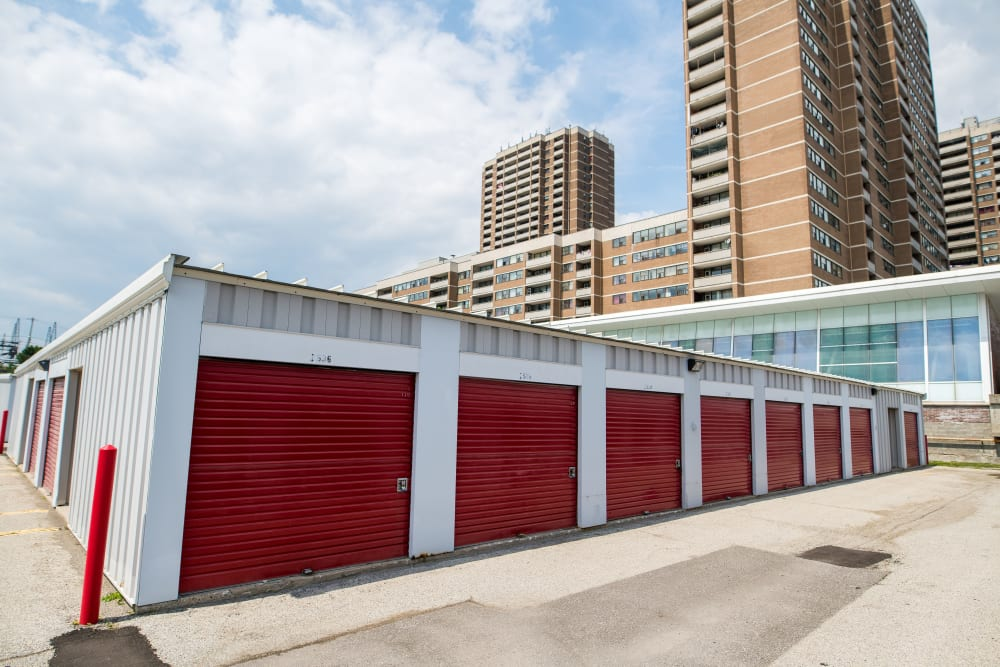 Storage units and city views at Apple Self Storage - Toronto - Danforth in Toronto, Ontario