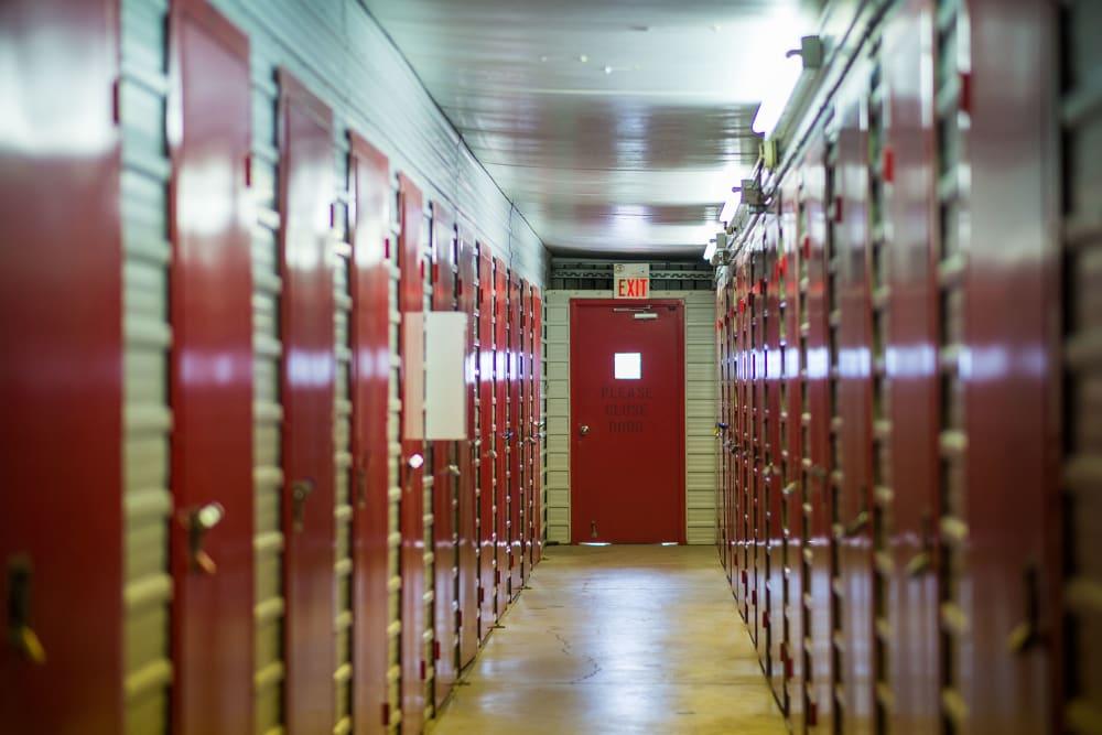Clean, bright hallway at Apple Self Storage - Toronto - Danforth in Toronto, Ontario