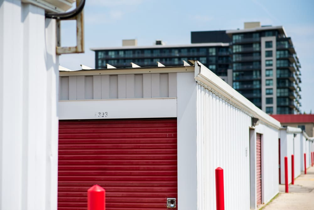 Bright red doors on units at Apple Self Storage - Toronto - Danforth in Toronto, Ontario