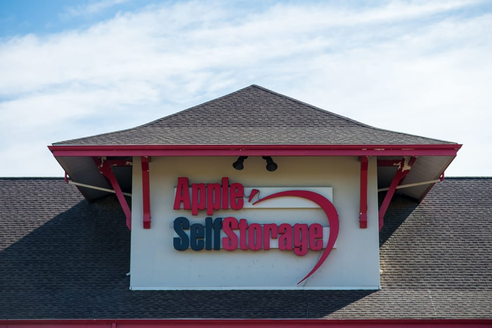 Logo on the building at Apple Self Storage - Moncton in Moncton, New Brunswick