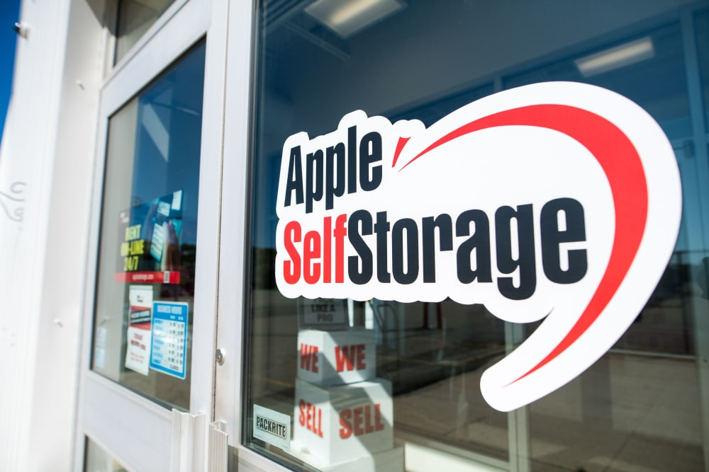 Logo on door at Apple Self Storage - Saint John East in Saint John, New Brunswick