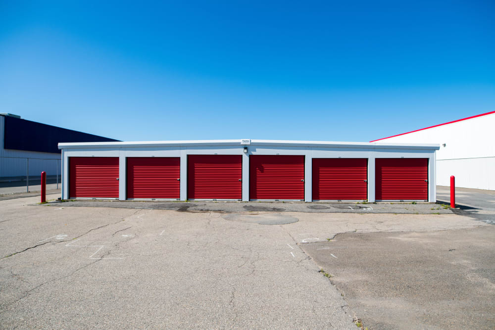 Exterior units with large doors at Apple Self Storage - Saint John East in Saint John, New Brunswick