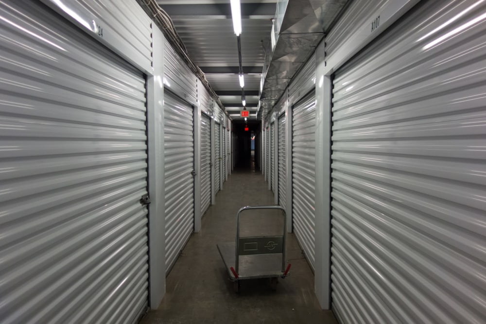 A cart in the hallway between units at D Street Storage in Salem, Oregon