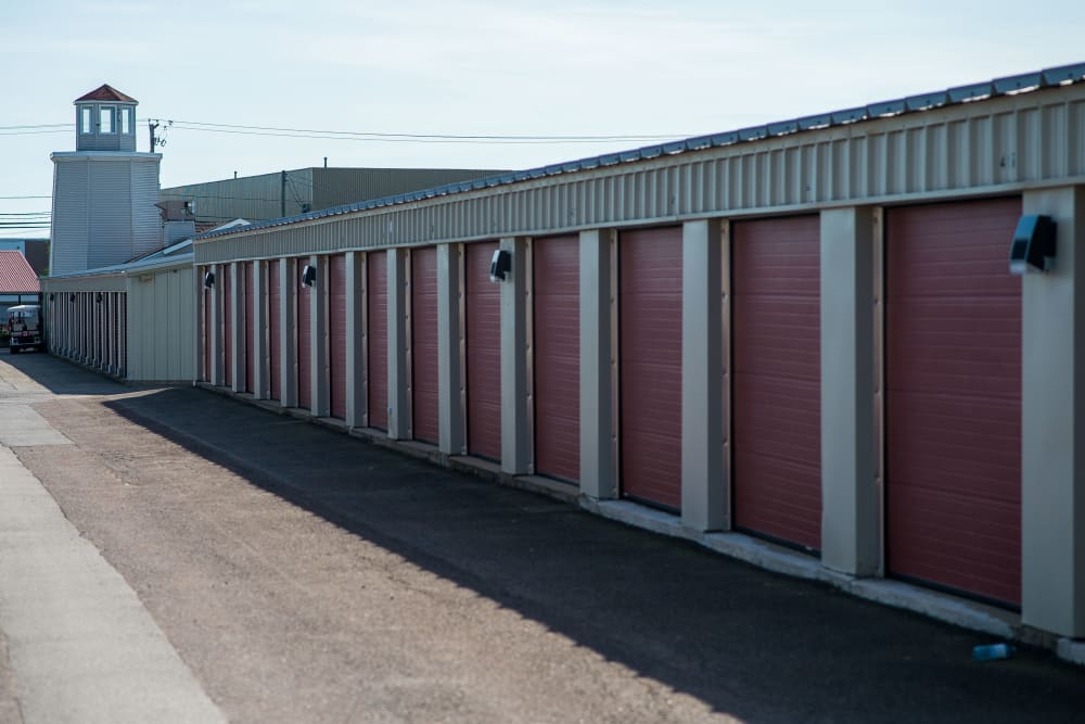 Exterior storage units at Lighthouse Self Storage in Moncton, New Brunswick