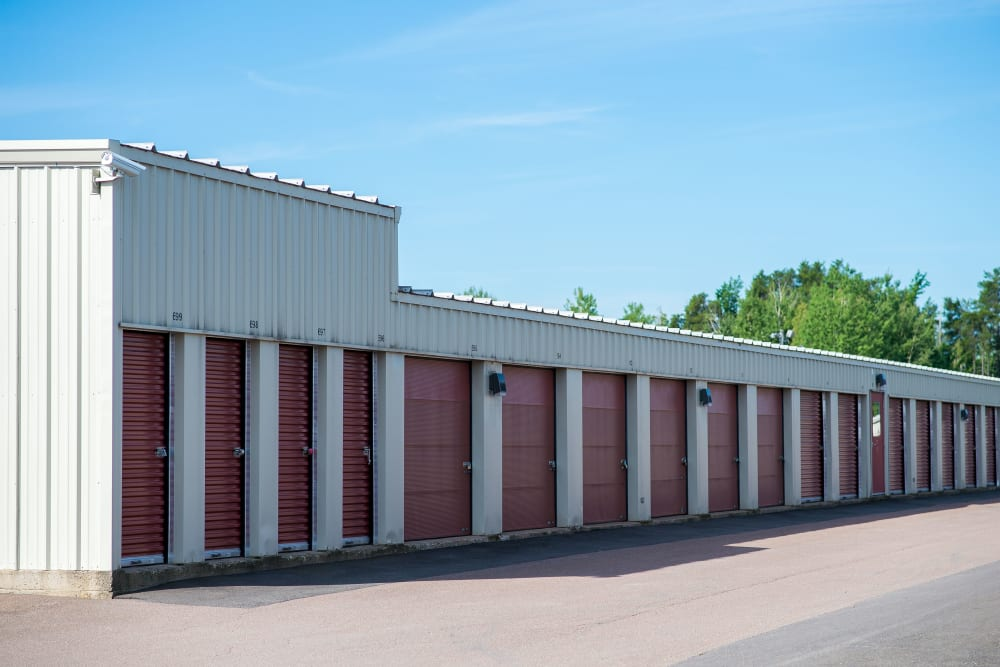 A row of storage units at Lighthouse Self Storage in Moncton, New Brunswick