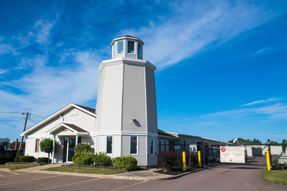 The lighthouse at Lighthouse Self Storage in Moncton, New Brunswick
