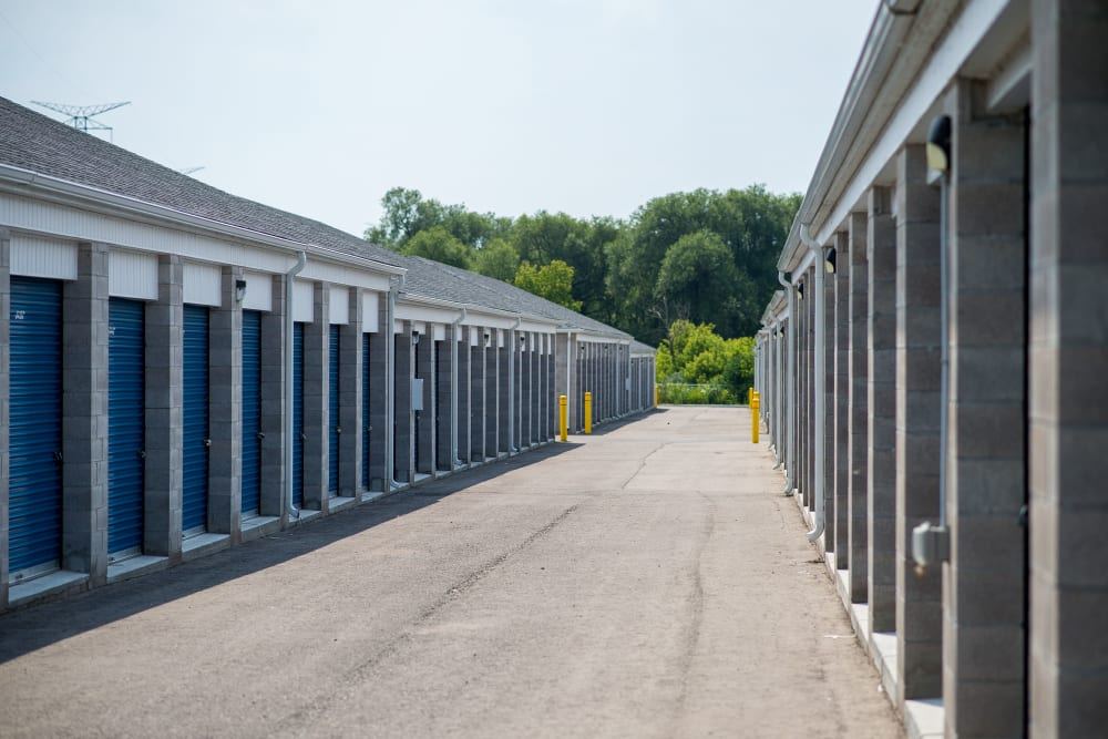 Blue storage unit doors at Apple Self Storage - Bowmanville in Bowmanville, Ontario