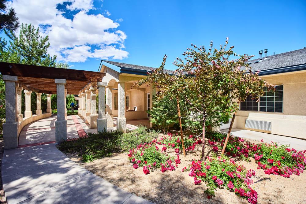 Flower garden at Arbors Memory Care in Sparks, Nevada