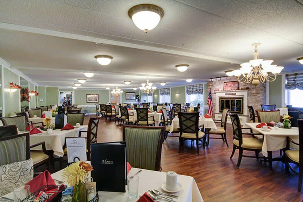 Dining tables at Anchor Bay at Greenwich in East Greenwich, Rhode Island