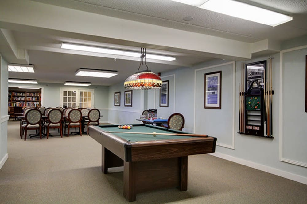 Pool table at Anchor Bay at Greenwich in East Greenwich, Rhode Island