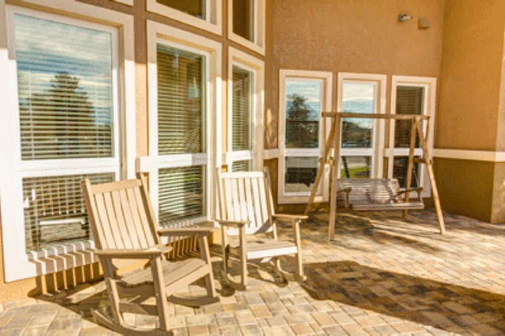 Patio seating at Brentwood at Fore Ranch in Ocala, Florida.